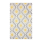 Hand Hooked Contemporary Ikat Trellis Rug, Sunflower, 5