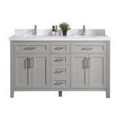 """60"""" Wx22"""" D Cambridge Double Sink Vanity In Gray With 5Cm White Quartz"""