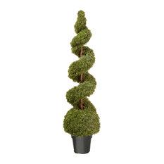 """Cedar Spiral With Ball In Green Pot, 60"""""""