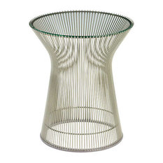 Platner Side Table By Knoll Clear Glass Polished Nickel