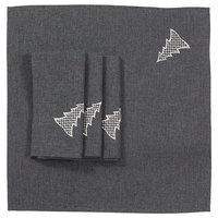 Lovely Christmas Tree Embroidered 20 by 20-Inch Napkins, Set of 4, DarkGray