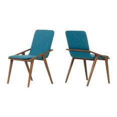Modrest Zeppelin Modern Dining Chairs Set Of 2 Blue Walnut