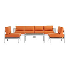 5-Piece Outdoor Sectional Sofa Set, Orange and Silver