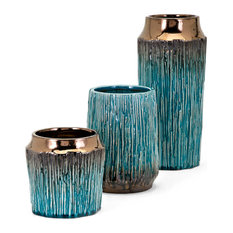 Imax Clay and Glaze 3-Piece Set Vases, Teal Finish