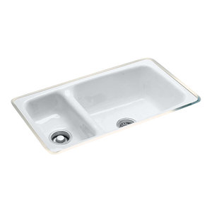 High-Low Double Bowl - Easy install No Hole Undermount