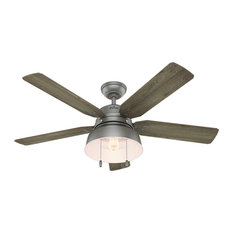 """Hunter 52"""" Mill Valley Matte Silver Ceiling Fan With Light"""