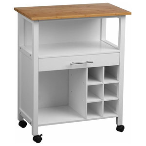 Traditional Serving Trolley Cart, White Painted MDF With Drawer and Wine Rack