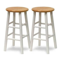 """Tabby Counter Stools, Natural and White, 24"""", Set of 2"""