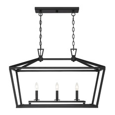 Townsend 3-Light Trestle Chandelier, Matte Black