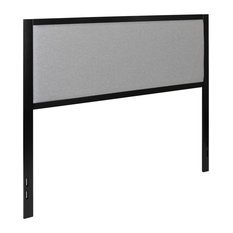 Queen Size Light Gray Metal Upholstered Headboard With Adjustable Rail Slots
