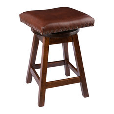 Swivel Bar Stool Maple Wood With Leather Seat Rich Tobacco Counter Height