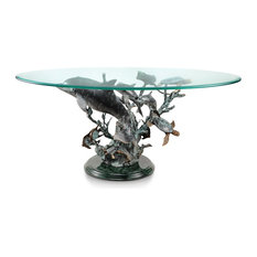 Metal and Glass Dolphin Seaworld Coffee Table