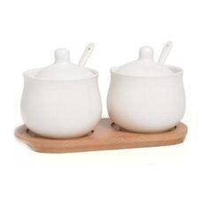 Set of 2 Ceramics Spice Jars White Seasoning Containers