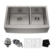 "36"" Farmhouse Apron Stainless Steel Kitchen Sink, Double 60/40 Bowl"