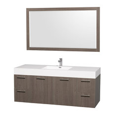 "Amare Gray Oak 60"" Vanity, 58"" Mirror, Acrylic-Resin, Integrated"