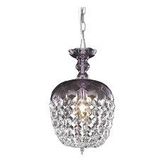 Elegant Rococo 1-Light Purple Pendant Clear Royal Cut Crystal