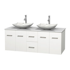 "Centra 60"" White Double Bathroom Vanity White Stone Top, Arista Carrera Marble S"