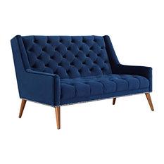 Modern Contemporary Urban Design Living Loveseat Sofa Navy Blue Fabric Velvet