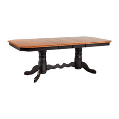 Double Pedestal Trestle Table, Antique Black with Cherry Butterfly Top