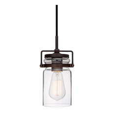 """Kira Home Wyer 8"""" Glass Jar Wired Pendant Light, Eco-Friendly, Oil-Rubbed Bronze"""