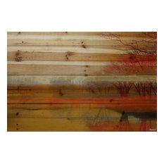 """Lake Morning Mist"" Painting Print on Wood by Parvez Taj, 71x101 Cm"