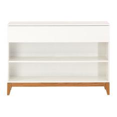Blanco Console Bookcase, White and Oak