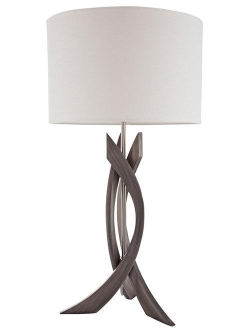 Nova   Nova Trensa Ash Gray 3 Slice Abstract Wood Table Lamp   Table Lamps