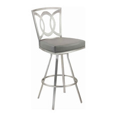 Stainless Steel Frame Barstool With Open Geometric Back Silver And Gray