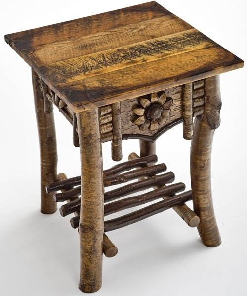 Birch Bark Furniture   Artistic End Table With Barnwood Top   Side Tables  And End Tables