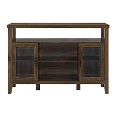 """Pemberly Row 52"""" Wood Console High Boy Buffet in Dark Walnut"""