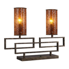 Twin 2-Light Table Lamp, Amber Mosaic Glass