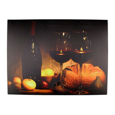 """Battery Operated 2 LED Wine Glass and Bottle Scene Canvas Wall Hanging, 15.75"""""""