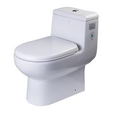 EAGO TB351 1-Piece Dual Flush High Efficiency Low Flush Toilet, White