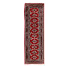 "ALRUG Handmade Deep Red Oriental  Jaldar Rug, 2'1""x6'5"""