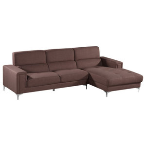Excellent Acme Derwyn Sectional Sofa Light Brown Linen Contemporary Bralicious Painted Fabric Chair Ideas Braliciousco