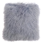 """Fibre by Auskin - Tibetan Lambskin 16"""" Cushion, Dove - Tibetan lambskin cushions are the epitome of luxury. Soft and textural, these cushions are an amazing accent to any room of your home. Backed with a cotton velvet fabric with a zipper and filled with a polyester insert."""