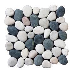 """12""""x12"""" Classic Pebble Tile, Black, White & Tan"""