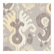 Gray and Yellow Giant Ikat Linen Fabric