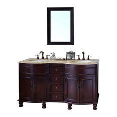 62 Inch Double Sink Vanity-Wood-Walnut-Travertine