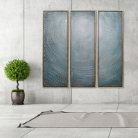 Concentric Textured Metallic Abstract Hand Painted Wall Art Set of 3
