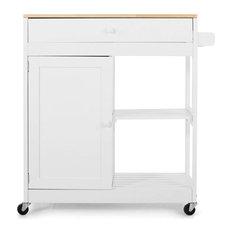 Contemporary Kitchen Island Cart, Natural Rubberwood Top, Multifunctional Design