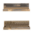 Reclaimed Wood Floating Shelves, Set of 2, Natural