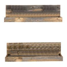 Reclaimed Wood Floating Shelves, Set of 2, Natural
