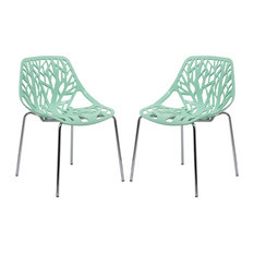 LeisureMod Modern Asbury Dining Chairs With Chromed Legs, Set of 2, Mint