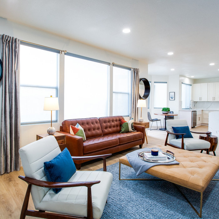 An extension from the kitchen, this living room has mid century modern flair.  The furniture is comfortable and inviting and has style and sophistication.