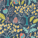 NuWallpaper - Groovy Garden Navy Peel & Stick Wallpaper - Get lost in this multicolored woodland scene. The charming pattern features an array of vintage-style flora, including pine, pomegranate and oak trees, over a navy background. Groovy Garden Navy Peel and Stick Wallpaper comes on one roll that measures 20.5 inches wide by 18 feet long. Vintage inspired woodland pattern; Peel and stick to apply, pull up to remove; NuWallpaper is safe for walls and leaves no sticky residue behind; Easily repositionable while installing; NuWallpaper sticks to any smooth, flat surface - perfect for DIY projects; Ideal for rental or home decorating;Comes on a 20.5-in x 18-ft roll and covers about 30.75 sq. ft;Design repeat of 21-in;This product should NOT be applied to textured walls - smooth clean, dry, painted surface only (no Non-Stick paint or soap residue).