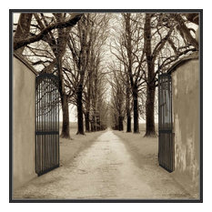 """Through The Gates We Enter"" Decorative Framed Canvas Wall Art, 32""x32"""