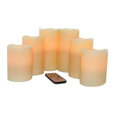 EcoGecko - Wax Vanilla Multi-Color Flameless LED Pillar Candles With Remote, Set Of 6 - Candles