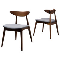 Issaic Mid-Century Modern Dining Chairs, Charcoal/Walnut, Set of 2