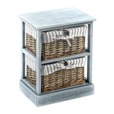Grey Shabby Chic 2-Basket Wood Cabinet